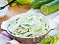 Рецепта Салата с краставици, целина, кисело мляко и майонеза